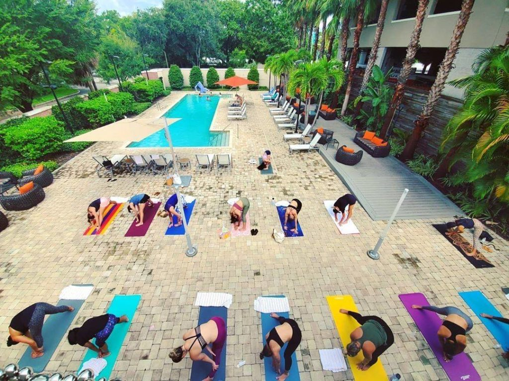 Date night events in Tampa Bay - poolside yoga at the Epicurean